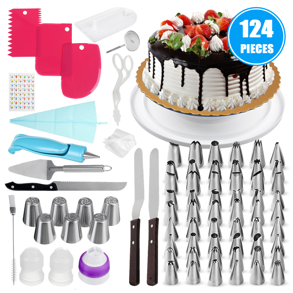Cake Baking Decorating Kit Cake Decorating Supplies Set Cake Decorating Tip Set with 20 Stainless Icing Tips Piping Nozzles Cream Squeeze Bag Tool