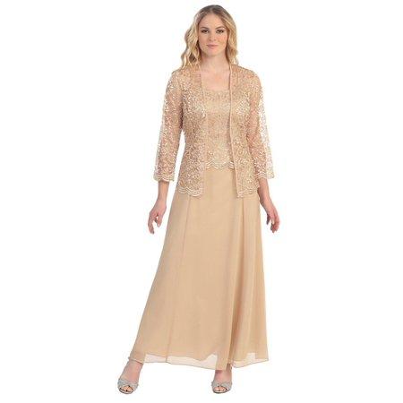 Women Ladies Fashion Long Chiffon Dress Mother Of Groom Dress With Lace Long Sleeve Jacket