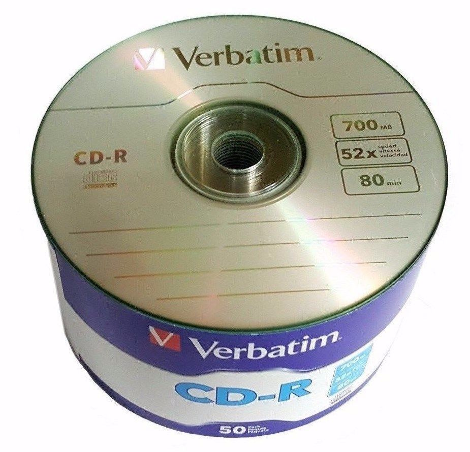 50 Pack Verbatim Blank CD-R CDR Logo Branded 52X 700MB 80min Recordable Media Disc