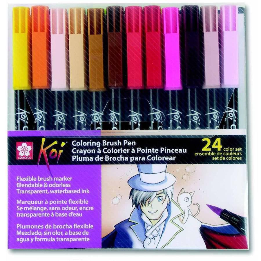 Sakura Koi Brush Marker, Flexible Nylon Tip, Assorted Col...