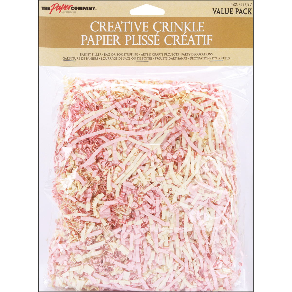 Creative Crinkle Paper 4 Ounces-Pink/Cream