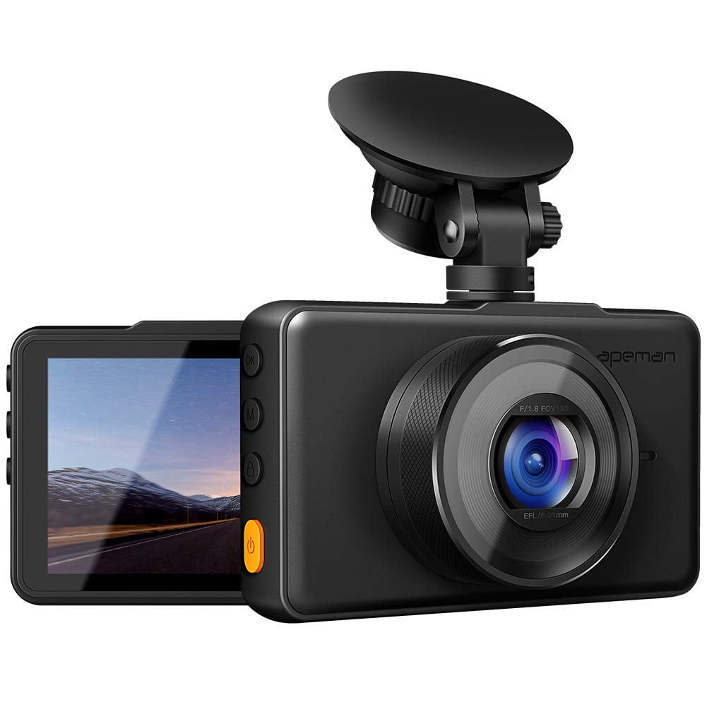 Front and Rear Camera for Cars 1080P Support GPS SD Card Included G-Sensor 170/°Wide Angle Night Vision WDR Motion Detection Loop Recording APEMAN Dash Cam Parking Monitor IPS Screen