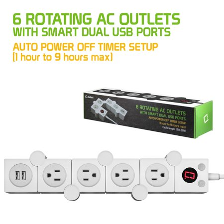Cellet 4-Outlet Flexible Power Strip With Timer and ON and Off Button, Dual USB Charging Ports, 5ft Cord , Perfect for Computers, Smartphones, Tablets, and Other Devices - White ()