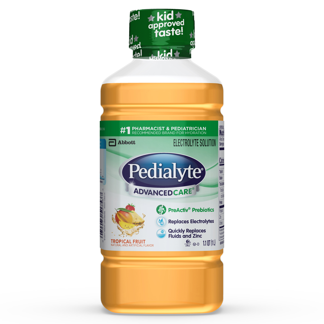 Pedialyte AdvancedCare Electrolyte Solution with PreActiv Prebiotics, Hydration Drink, Tropical Fruit, 1 Liter, 4 Count