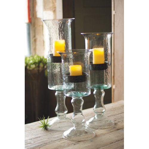 Gracie Oaks Glass/Metal Candlestick