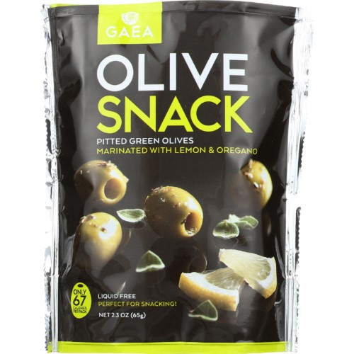 Gaea Olives Snack, Greenpittedwith Oregano And Lemon 2.3 Oz by Gaea