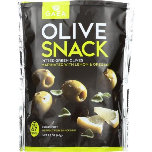 Gaea Olives Snack, Greenpittedwith Oregano And Lemon 2.3 Oz