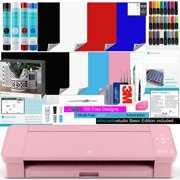 Silhouette Cameo 4 Pink Bundle with 4 Rolls of Vinyl, 8 Sheets of Printable Vinyl, Vinyl Starter Kit, 24 Pack of Pens, CrafterCuts Tool Kit, 110 Studio Designs, Access to Guides, Tutorials, classes
