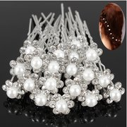Micelec 20Pcs Wedding Bridal Faux Pearl Rhinestone Flower Hair Stick Pins Clips Silver Color Jewelry