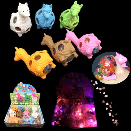 Light Up Llama Mesh Balls LED Squishy Grape Squeeze Stress Fortnite Party Bags Favors (12 Pack)