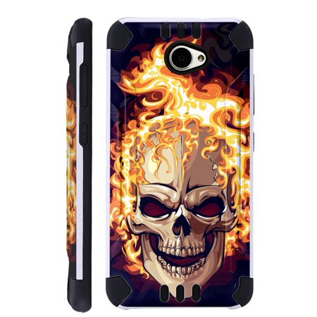 For Huawei Ascend XT2 / Huawei Ascend XT 2 / Huawei Elate 4G Case Brushed Metal Texture Hybrid TPU KombatGuard Phone Cover (Skull Fire)](huawei ascend p7 l00)