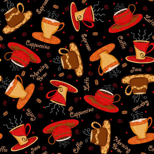 V.i.p By Cranston Coffee Cups Fabric