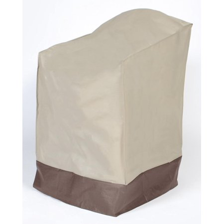 Vinyl Outdoor Chair Cover - Durable Outdoor Patio Vinyl Chair Cover - Taupe with Brown Trim