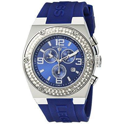 swiss legend men's 30025-03 throttle chronograph blue dial watch