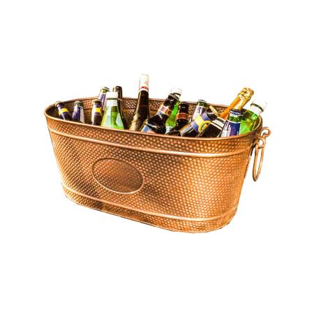Hammered Copper Ice (BREKX Copper Finish Hammered Creighton Pebbled Beverage Ice Bucket Tub (2 Pack))