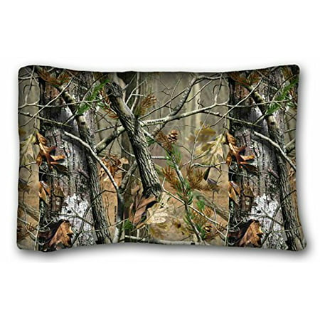WinHome Custom & Soft Rectangle Zippered Pillow Case Cover Camouflage Camo Tree Hunter Dry Branches Leaves Oak Woodland Camo Vintage Retro Personalized Pillowcase 20x30 Inches ()