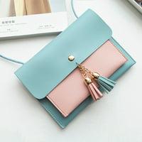 Women Fashion Double Deck Cover Tassels Crossbody Bag Shoulder Bag Phone Bag BU