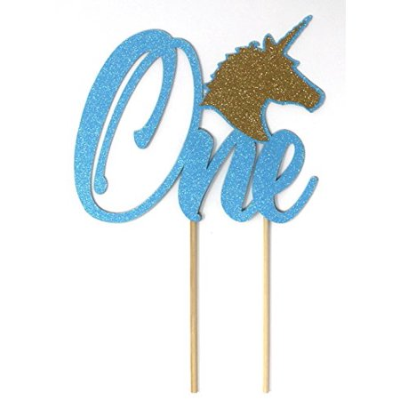All About Details Unicorn Theme One Cake Topper, 1pc, 1st Birthday Cake Topper, 1st Birthday Party Decoration (Glitter Pastel Blue & - 1 Birthday Theme