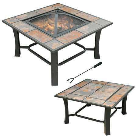 """Axxonn 32"""", 2-in-1 Malaga Convertible Square Tile Top Fire Pit, Coffee Table wood burning Fire Bowl"""