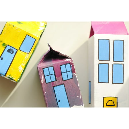 Canvas Print Craft Kids Milk Carton Craft Toy Village Fun Stretched Canvas 22 x 30