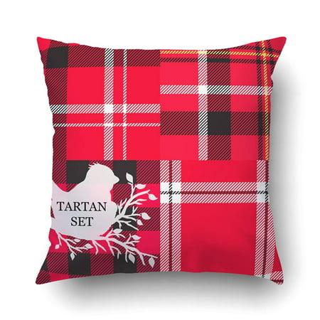 BPBOP Set White Spring Bird Scottish Traditional Fabric Pattern Black Yellow Stripes Pillowcase Pillow Cushion Cover 18x18 inch