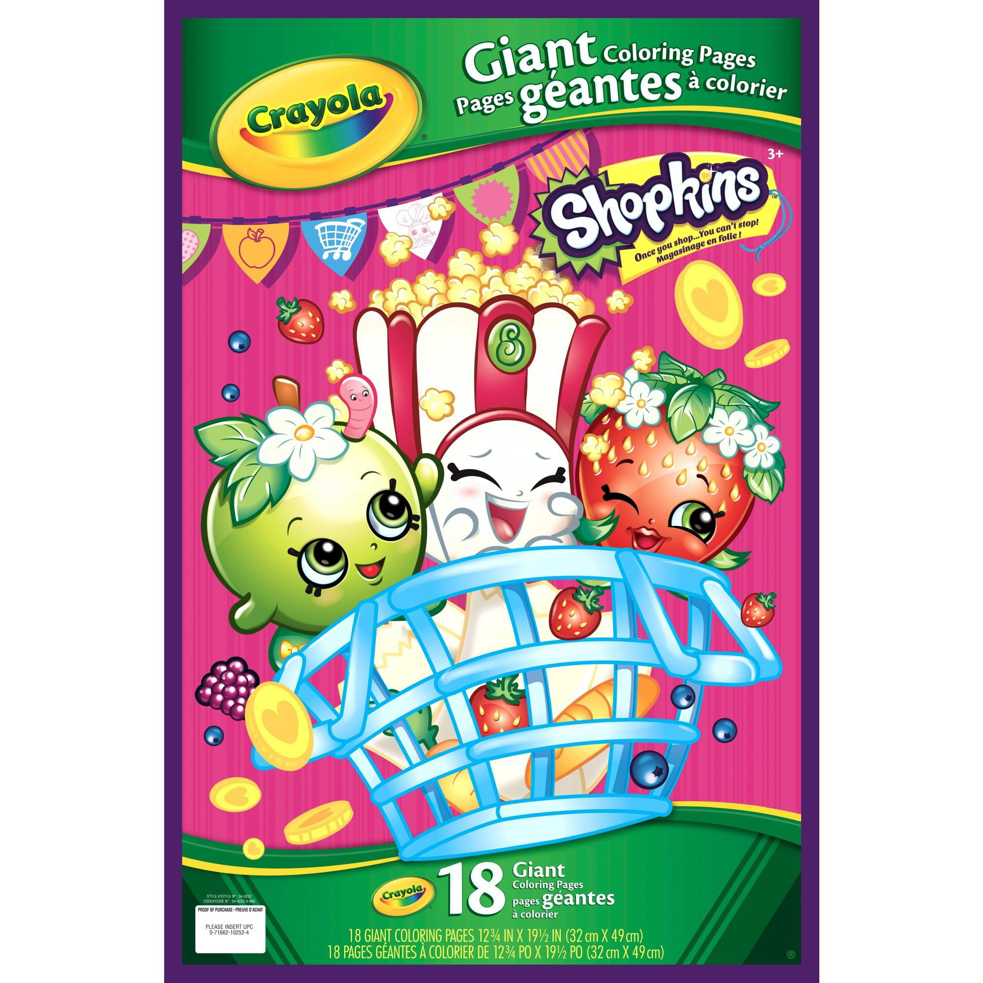 Crayola Shopkins Giant Coloring Pages, 18 Sheets for Ages 3+ ...