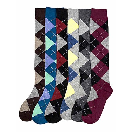 Multicolor Argyle Print 6-Pack Assorted Knee High Socks Argyle Knee High Socks