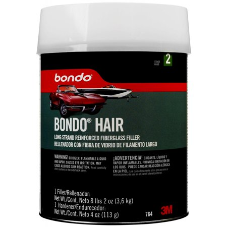 Bondo Hair Long Strand Fiberglass Reinforced Filler, 00764, Gallon (8lbs, 2oz) 2/case Fiberglass Body Filler