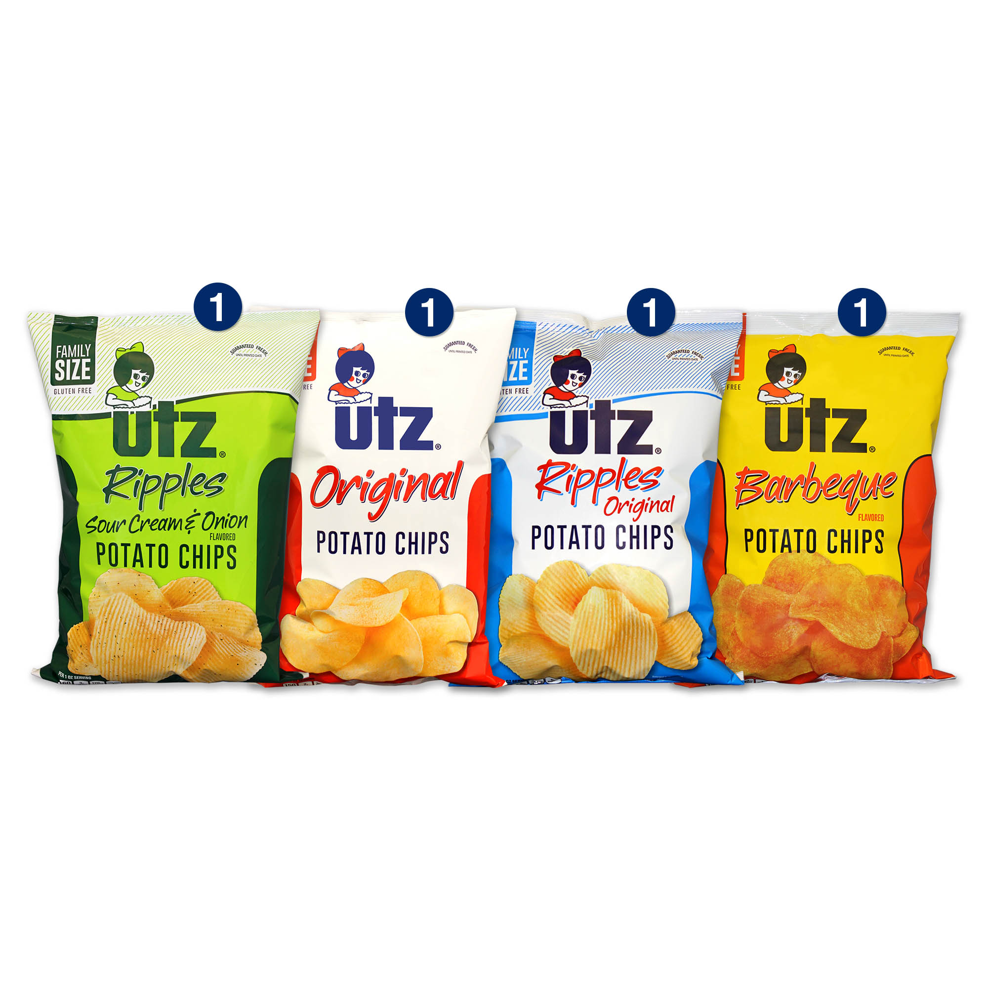 Utz Potato Chips, Variety Box, 9.5 Oz, 4 Ct