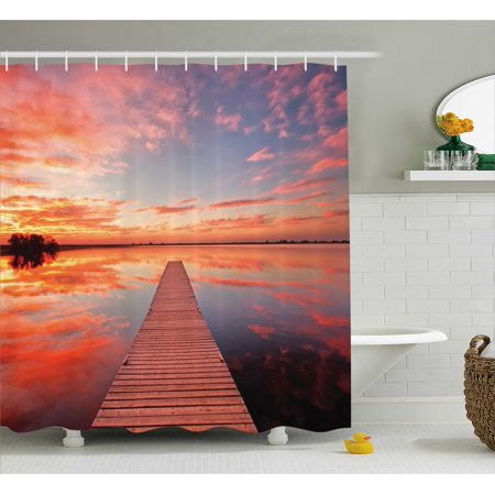 Timber Bath (Lake House Shower Curtain, Long View of the Timber Deck Pier over Lake with Idyllic Sky at the Dawn, Fabric Bathroom Set with Hooks, Orange Lavander, by Ambesonne )