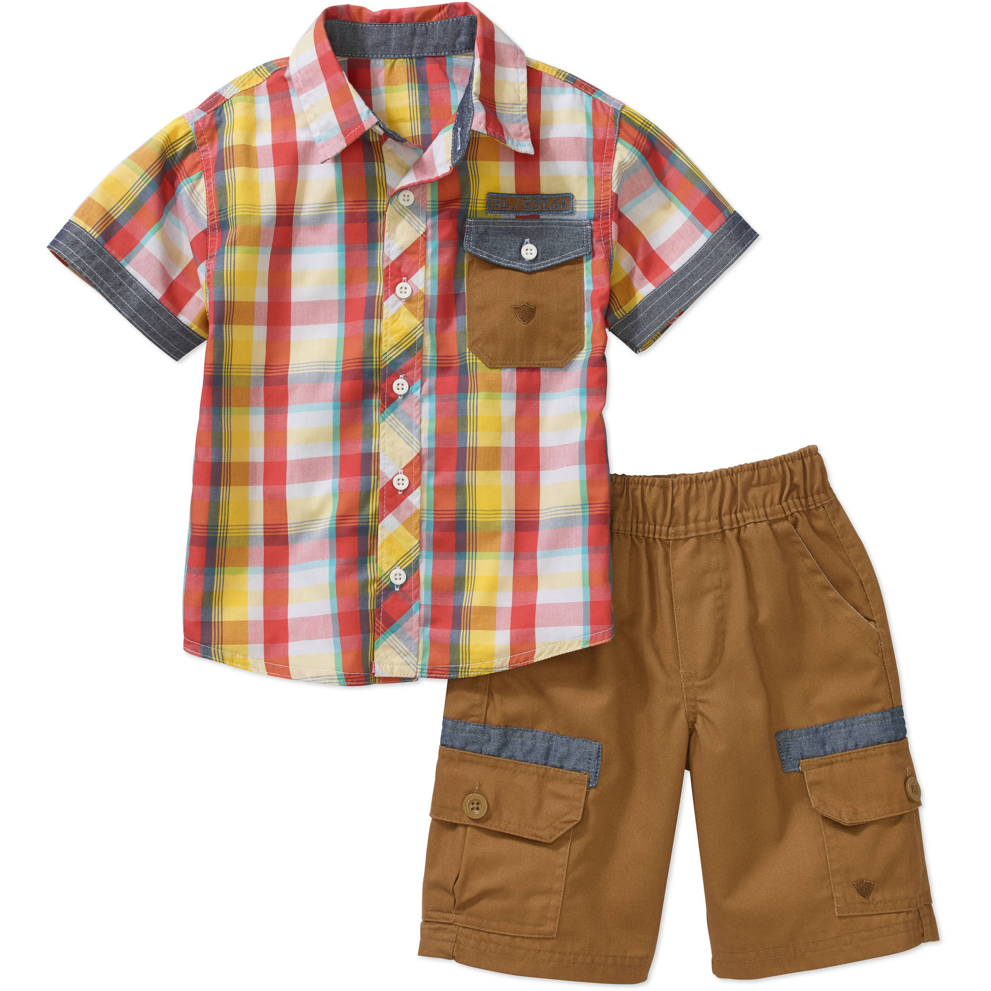Little Boys 2 Piece Yarn-Dye Shirt with Chambray Details & Twill Pull-on Cargo Shorts Set