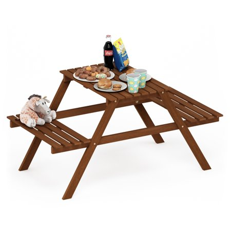 Cool Furinno Tioman Hardwood Kids Picnic Table And Chair Set In Teak Oil Download Free Architecture Designs Scobabritishbridgeorg