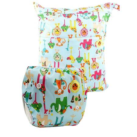 9a18af7466 Reusable Swim Diapers and Wet Dry Diaper Bag 2 Pc Set - Walmart.com