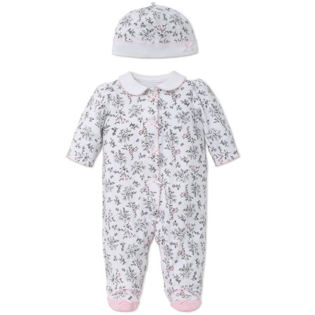 Bird Toile Snap Front Footie Pajamas with Mary Jane Feet and Hat For Baby Girls Sleep N Play One Piece Romper Coverall Cotton Infant Footed Sleeper; Pijamas Para Bebes- Pink, (32 Sleeper)