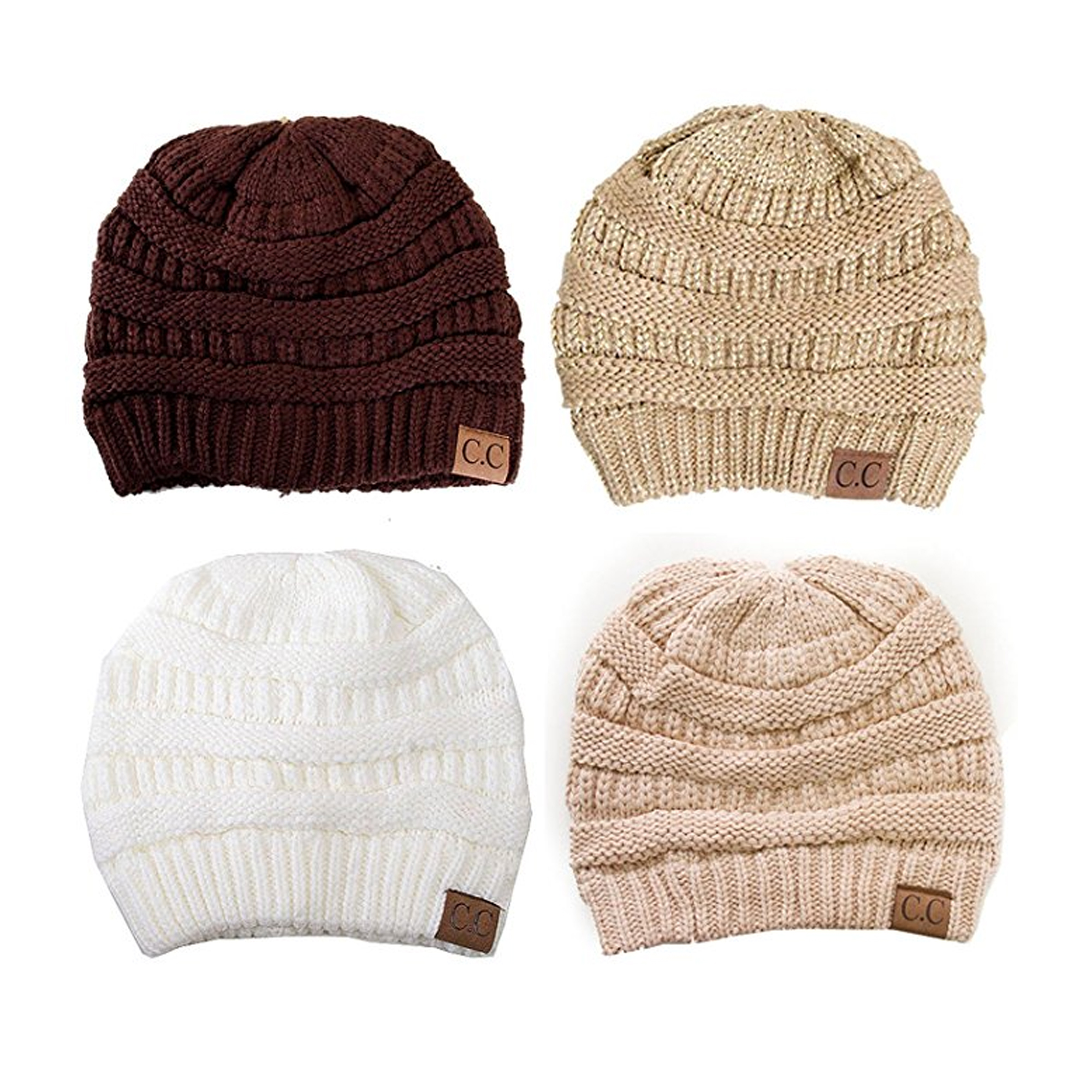 Trendy Warm Chunky Soft Stretch Cable Knit Slouchy Beanie Skully HAT20A (One Size,   3 Pack- Burgundy/Dark Olive/Black )