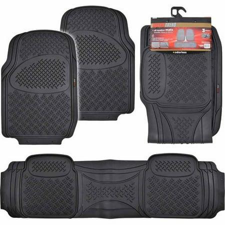 - Motor Trend Premium Odorless Floor Mats, Heavy-Duty Grid Diamond Pattern 3-piece For Large Cars, SUVs and Trucks