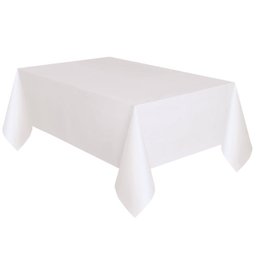 Plastic Table Covers, 108 X 54in, White, 3ct
