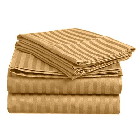 Home Design 1800 Series Luxurious Hotel Stripe Sheet Sets (Full, (Sheet Set Gold Stripe)