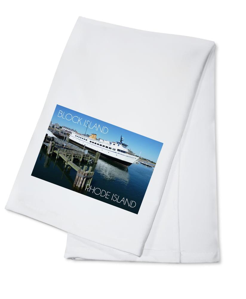 Block Island, Rhode Island Ferry Boat Lantern Press Photography (100% Cotton Kitchen... by Lantern Press
