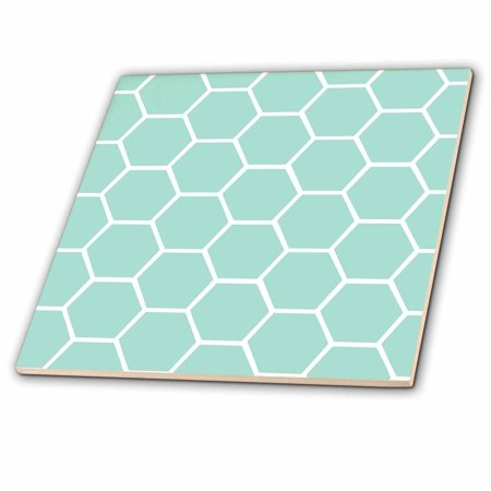 3dRose Mint honeycomb pattern - pastel aqua blue hexagons - light teal turquoise bee hive hexagonal design - Ceramic Tile, 4-inch