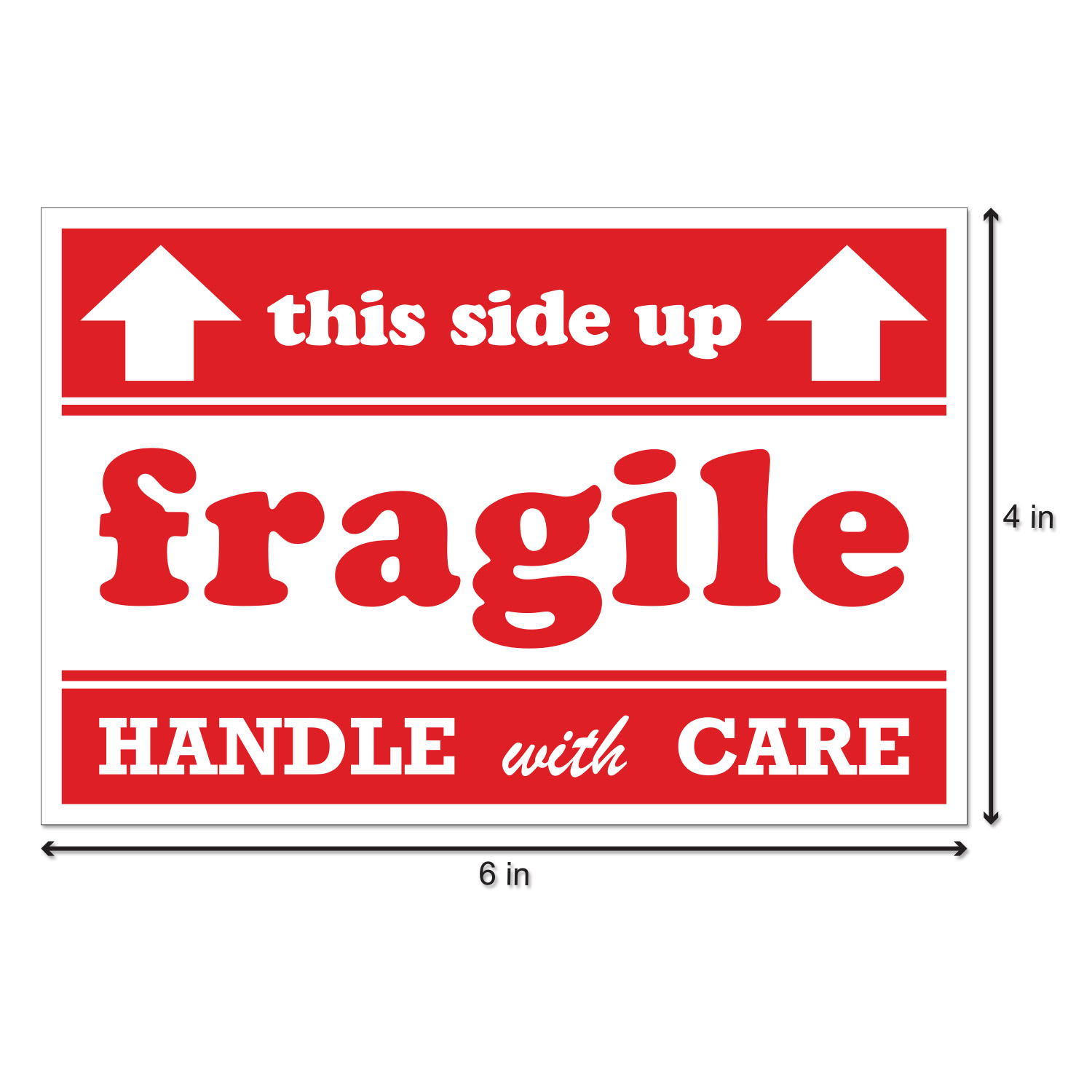 image regarding Fragile Glass Labels Printable known as Sensitive This Aspect UP Stickers with Arrows (6 x 4 inch, 300 Stickers for every Roll, Crimson) for Delivery Mailing