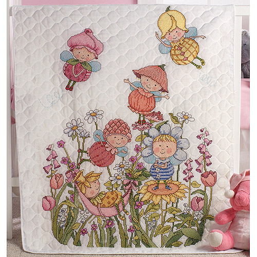 "Garden Fairies Crib Cover Stamped Cross-Stitch Kit, 34"" x 43"""