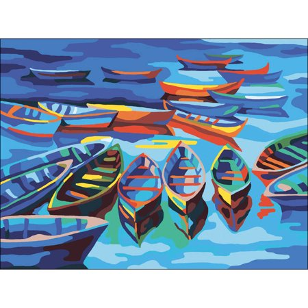 Collection D'Art Needlepoint Printed Tapestry Canvas, 40cm x 50cm, Boats
