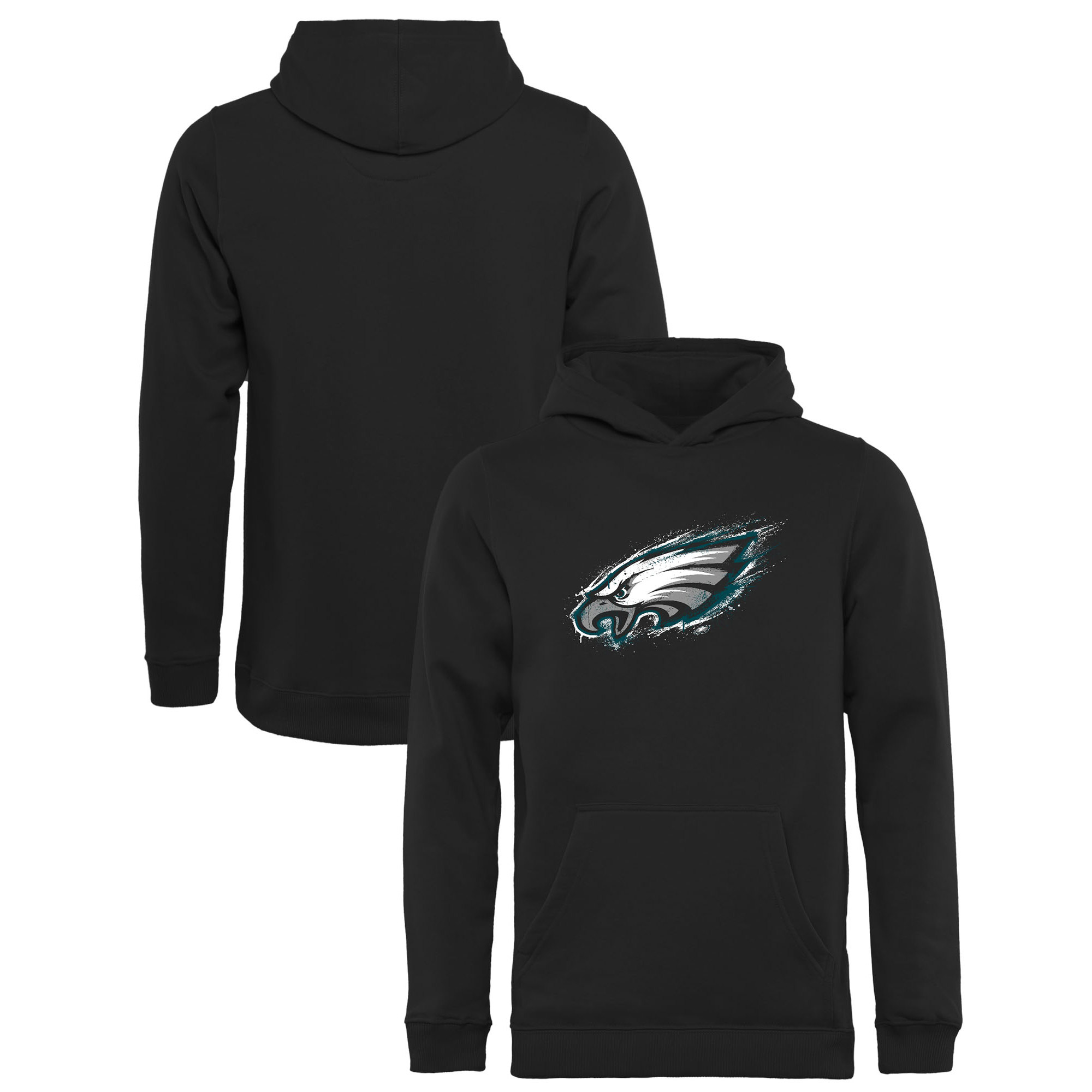 Philadelphia Eagles NFL Pro Line by Fanatics Branded Youth Splatter Logo Pullover Hoodie - Black