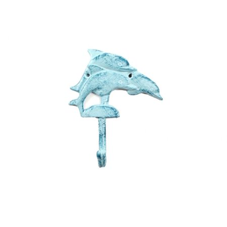 Rustic Dark Blue Whitewashed Cast Iron Dolphins Wall Hook 6