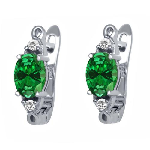 4.29 Ct Oval Green Simulated Emerald White Sapphire 925 Sterling Silver Earrings