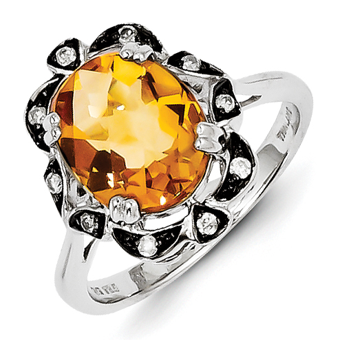 Sterling Silver Citrine & Diamond Ring Size 7 by