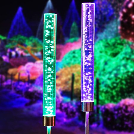 2pcs Garden Solar Lights Outdoor Solar Tube Lights Solar Acrylic Bubble RGB Color Changing Solar Powered Garden Stake Lights for Gard Stake Lights for Garden Patio Backyard Pathway (Acrylic Garden Lighting)
