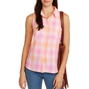 Faded Glory Women's Classic Plaid Sleeveless Button-Front Top