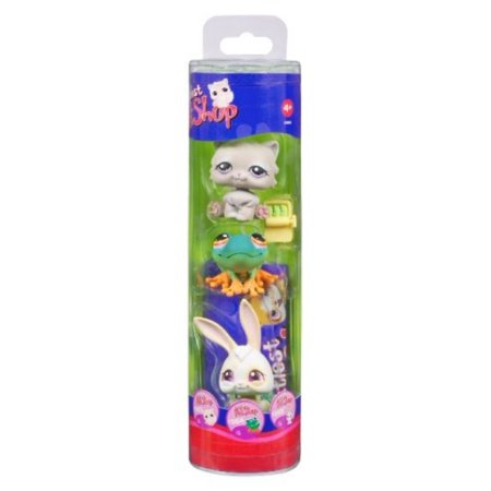 Littlest Pet Shop Spring Theme Toy Figure Tube 3-Pack - Frog Bunny Kitten 263 264 265